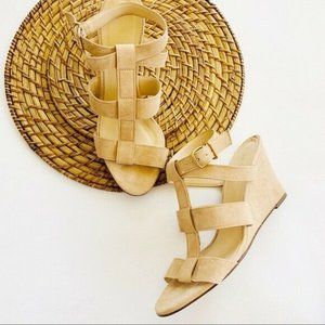 NWOB J. Crew Tan Suede Strappy Wedge Sandals 7